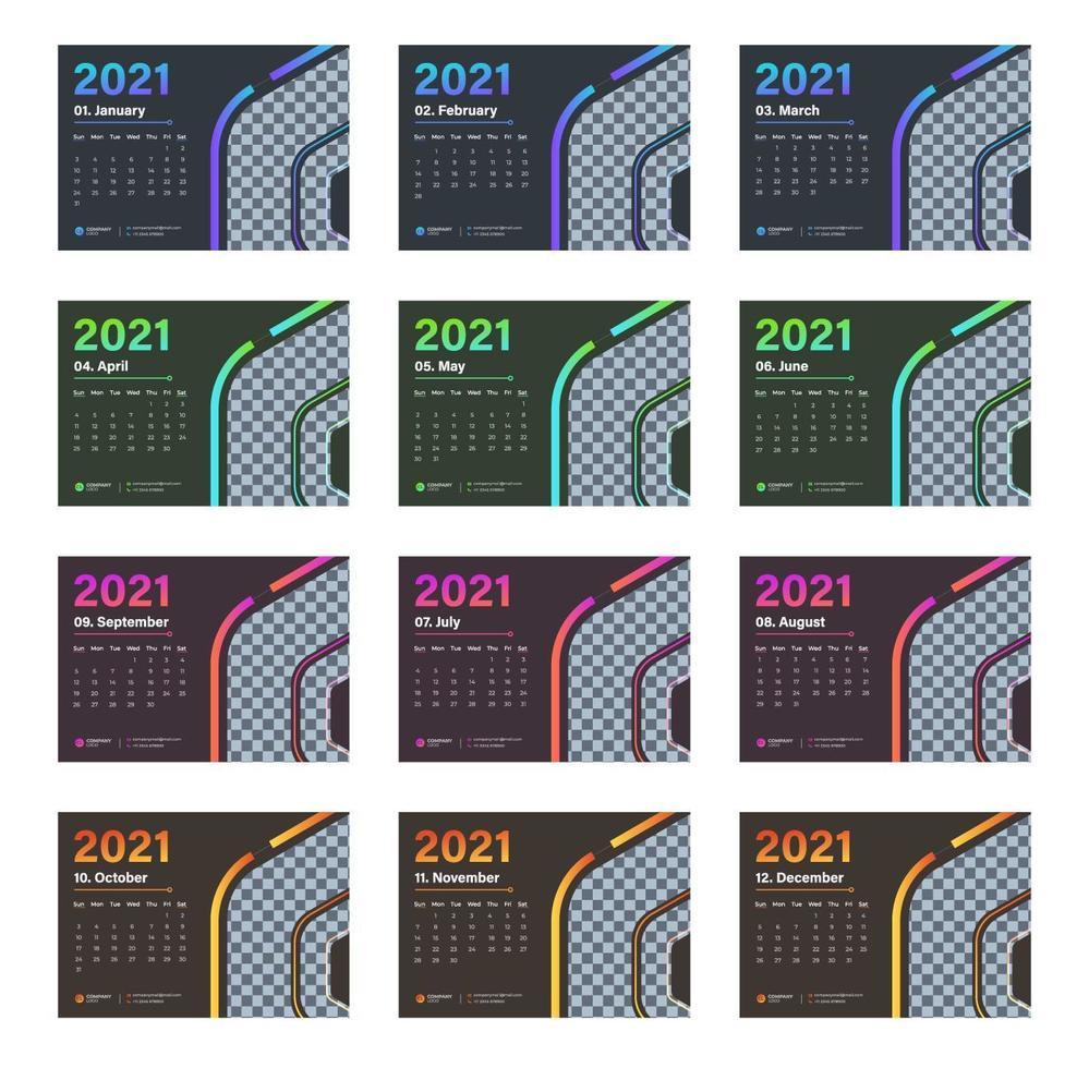 moderno calendario de escritorio de varios colores 2021 vector
