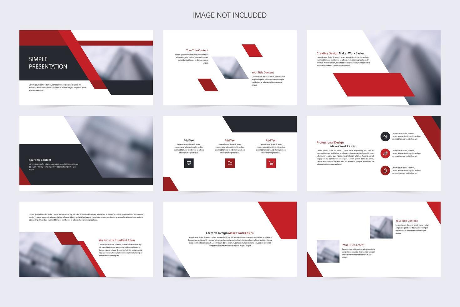 plantilla de diapositiva negra y roja de negocios simple vector