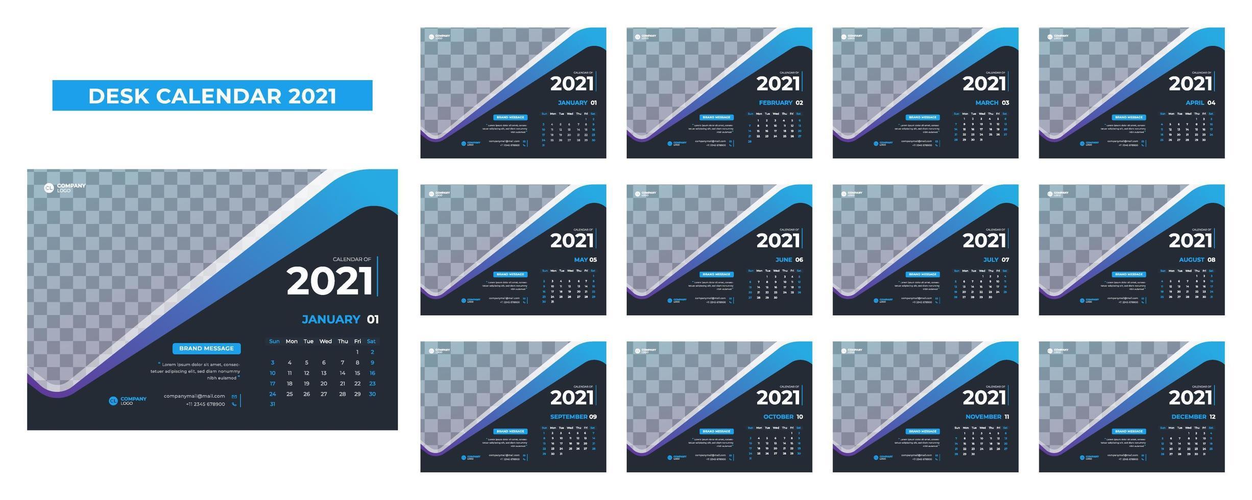 Calendario de escritorio azul y gris para 2021. vector