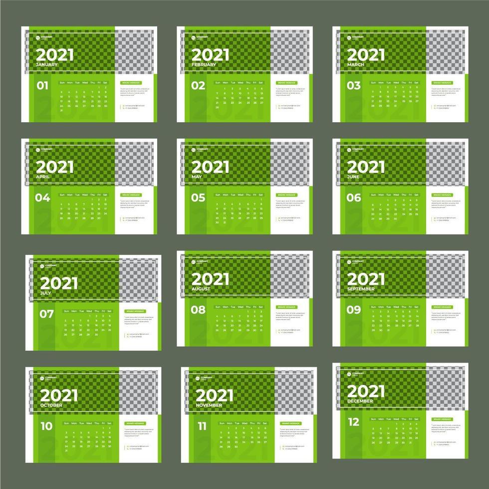 Modern green 2021 calendar template vector