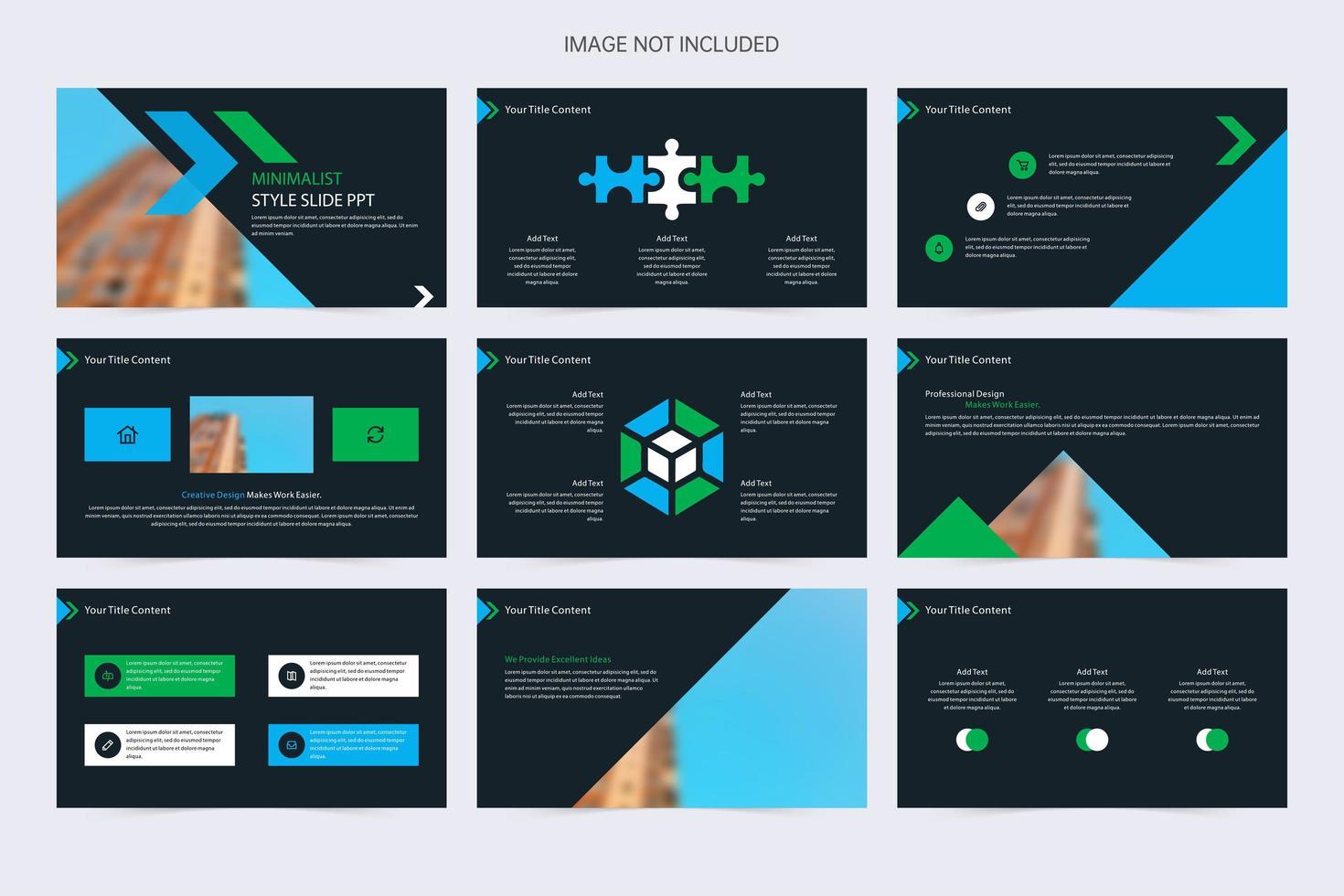 elementos minimalistas de presentación de diapositivas azul, verde y negro vector