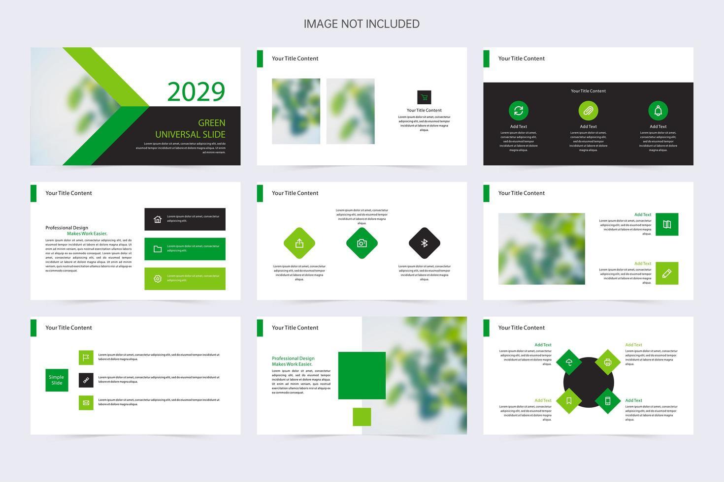 Plantilla de presentación de negocios verde y blanca moderna vector