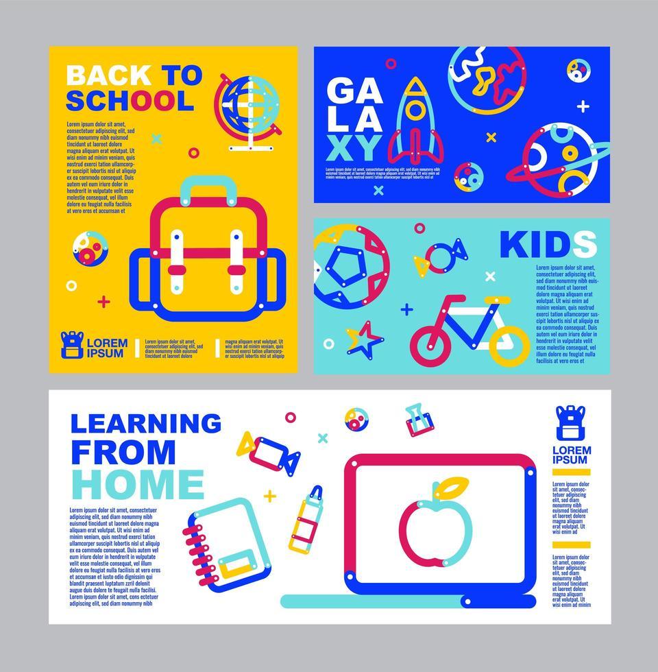regreso a la escuela, folleto de aprendizaje en línea y conjunto de pancartas vector