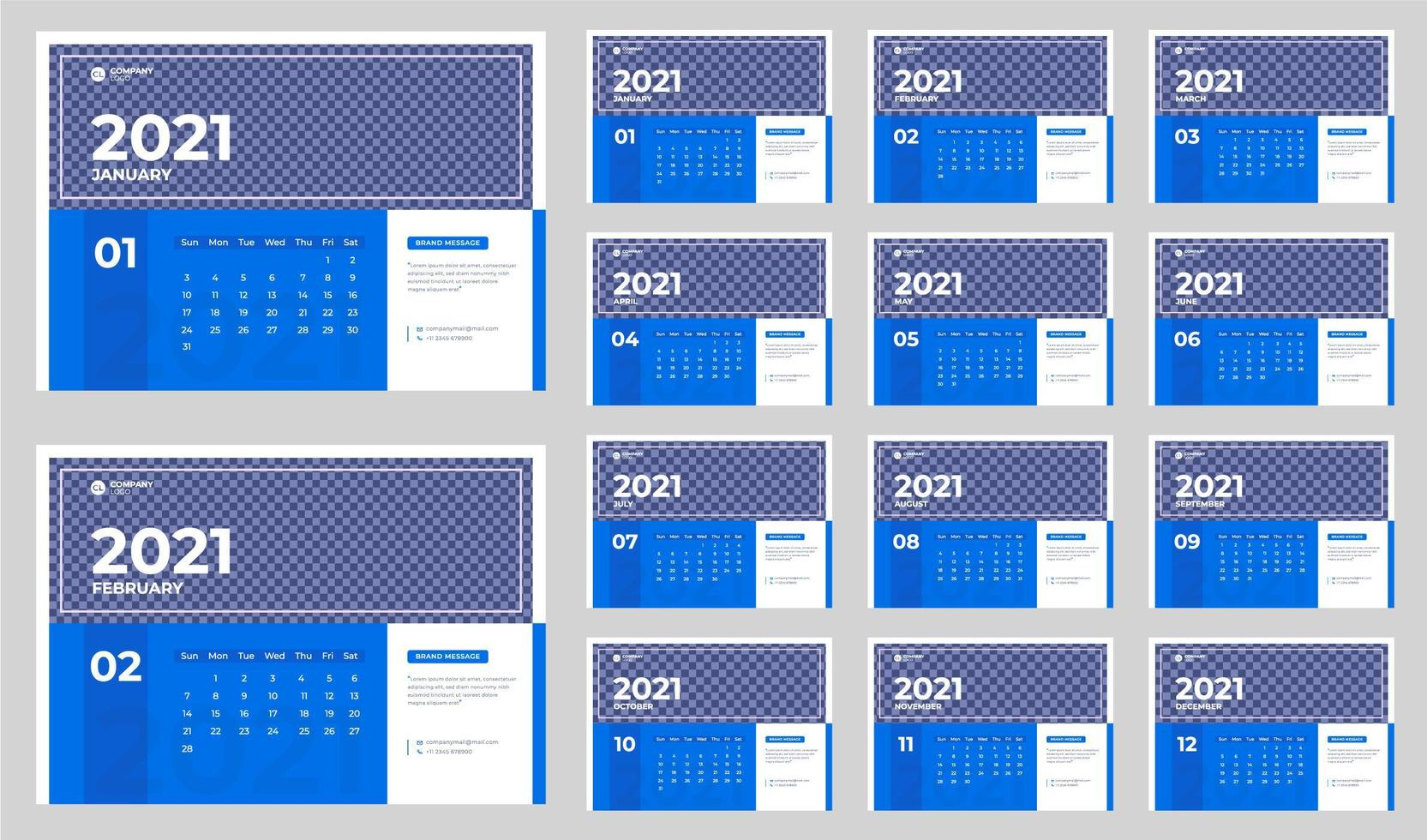 Blue and white corporate desk calendar for 2021 vector