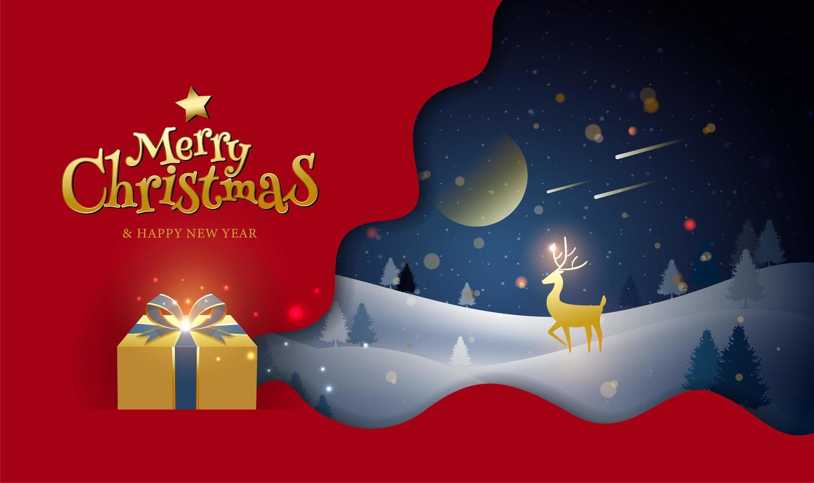 diseño navideño con ciervos en paisaje de invierno y regalo vector