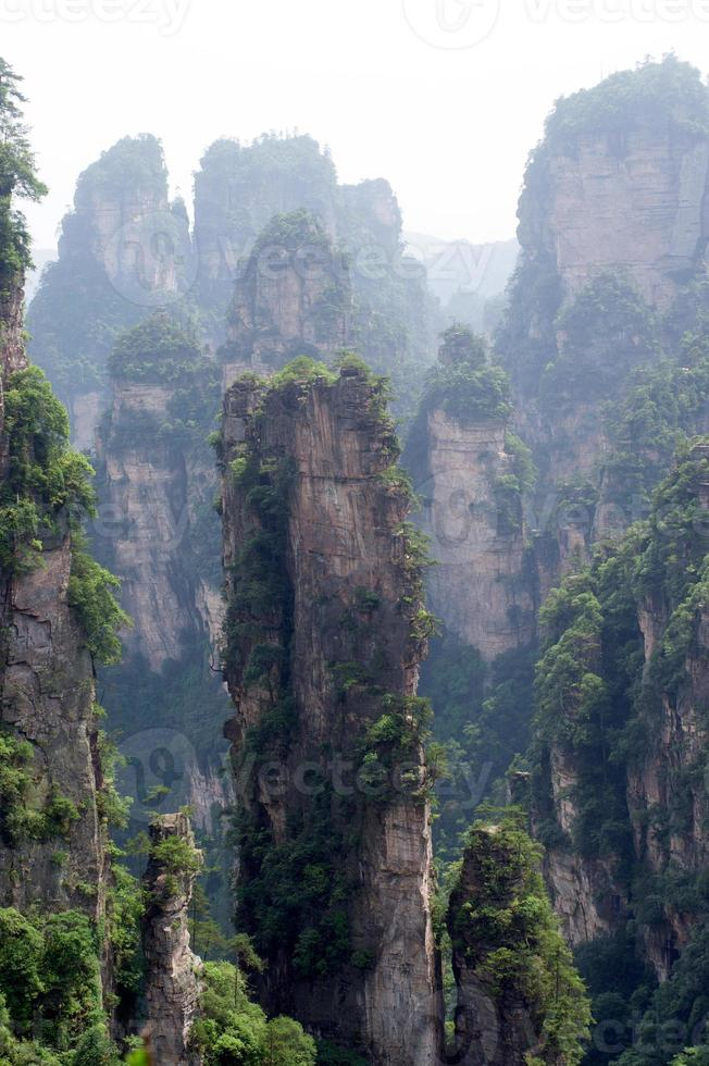 Mysterious mountains Zhangjiajie, Hunan Province in China. photo