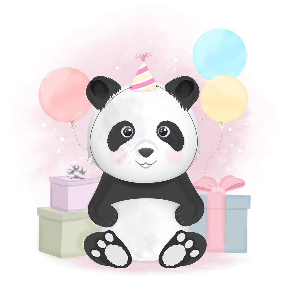 panda y cajas de regalo con globos. vector