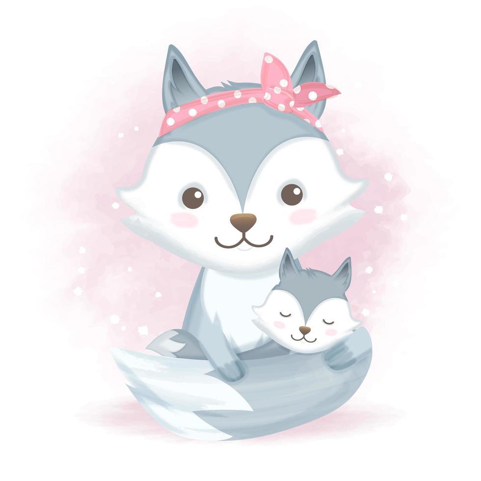 bebé zorro y madre en estilo acuarela vector