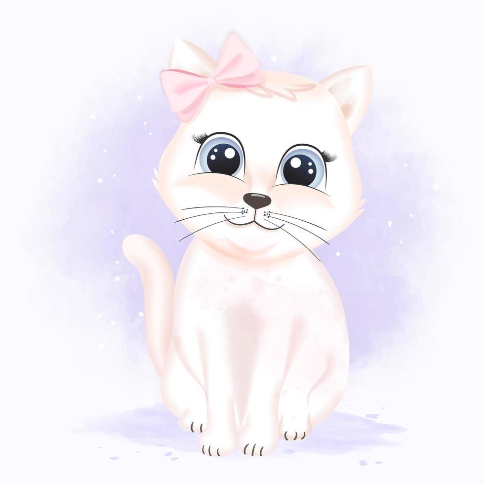gato con lazo rosa en estilo acuarela vector