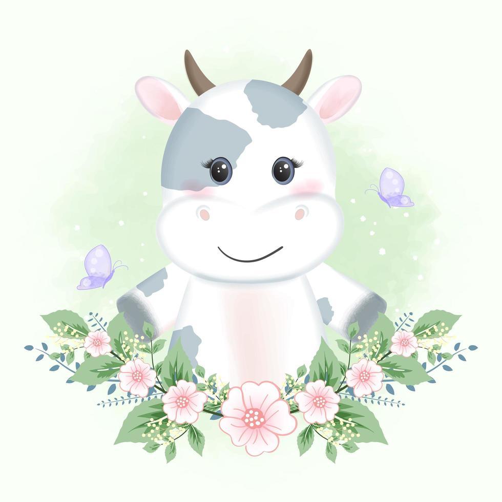 vaca bebé y mariposas con flores vector