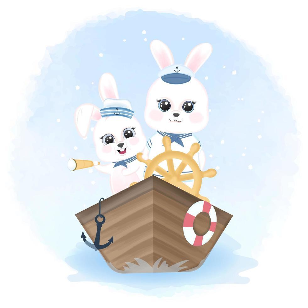 marineros de conejo conduciendo un barco en estilo acuarela vector