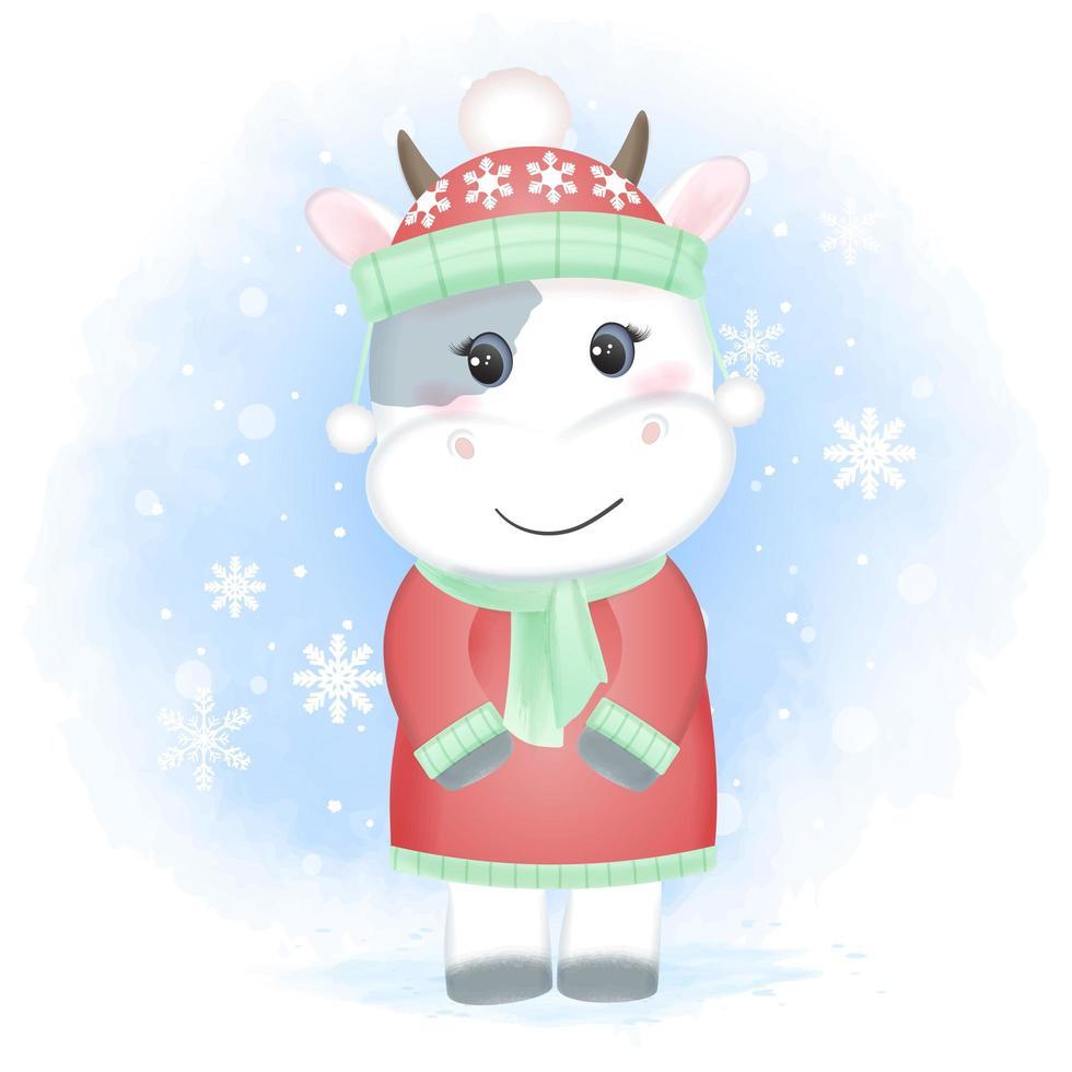 vaca y copo de nieve temporada navideña acuarela vector