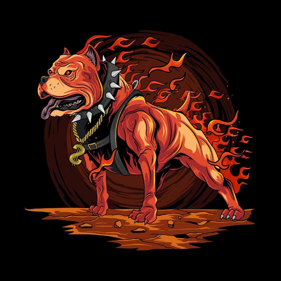 perro pitbull con diseño de fuego vector