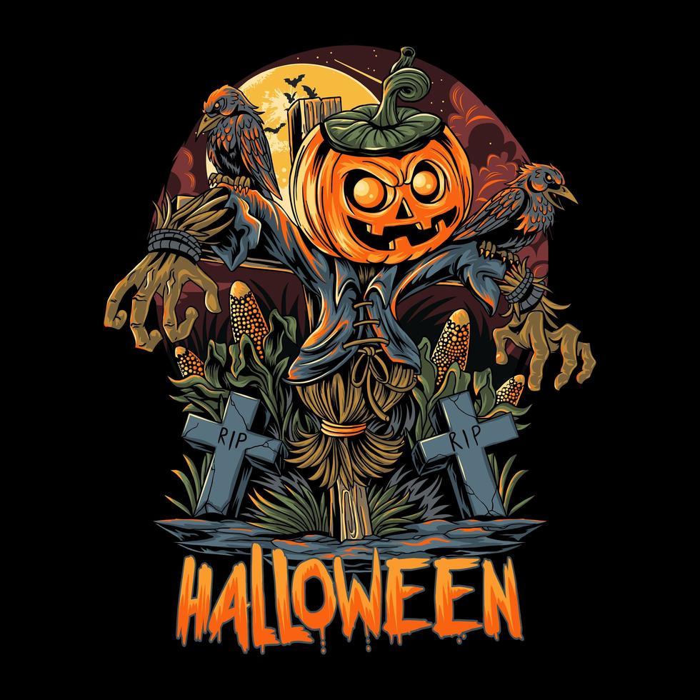 diseño de espantapájaros y calabazas de halloween vector