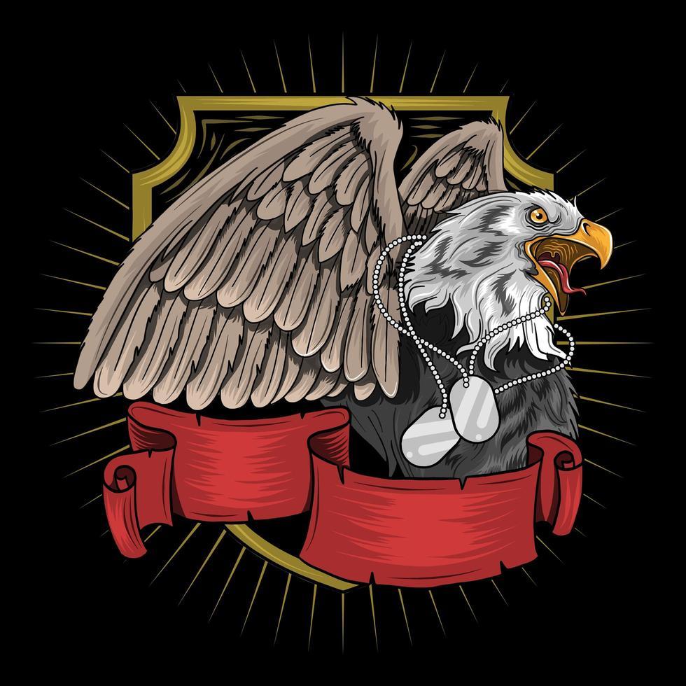 águila con collar de etiqueta militar vector