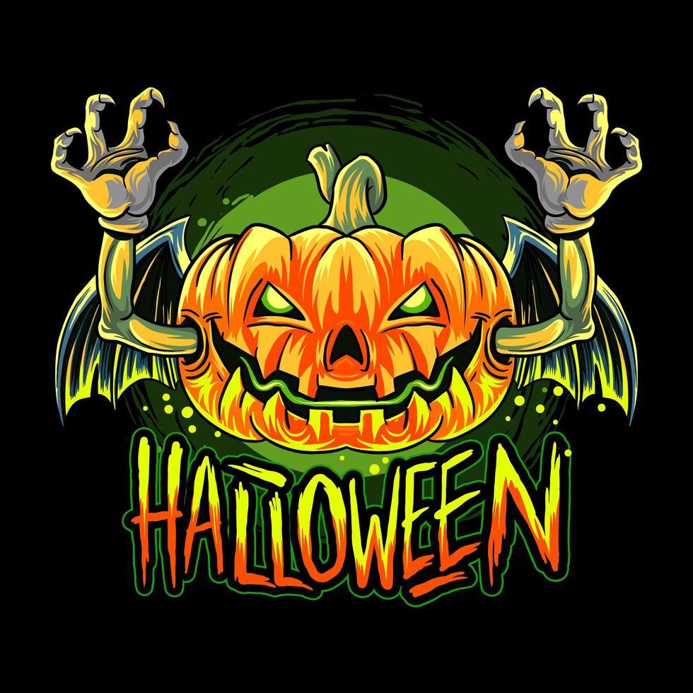 diseño de cabeza de calabaza de halloween de murciélago vampiro vector