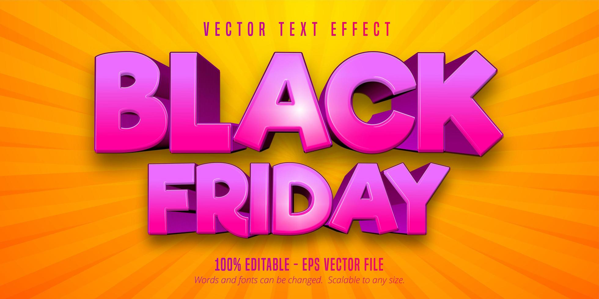 Black Friday cartoon style editable text effect vector