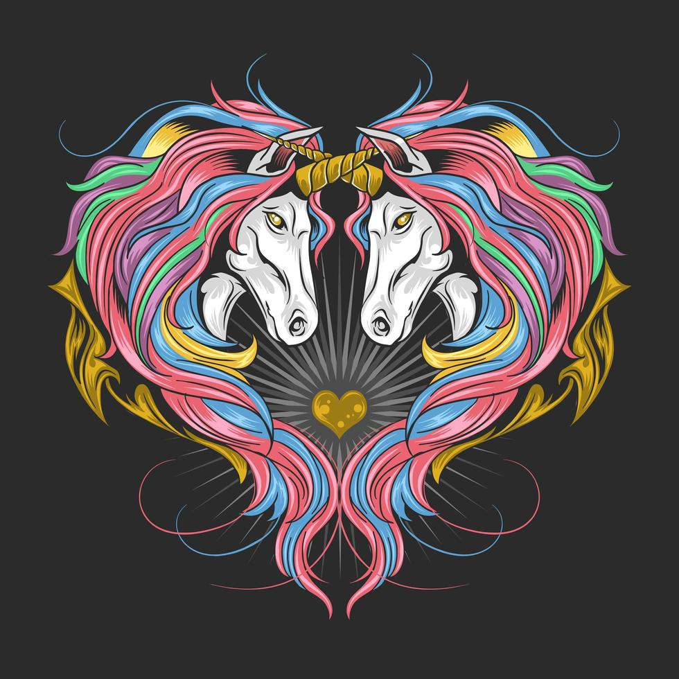 unicornios en forma de corazon vector