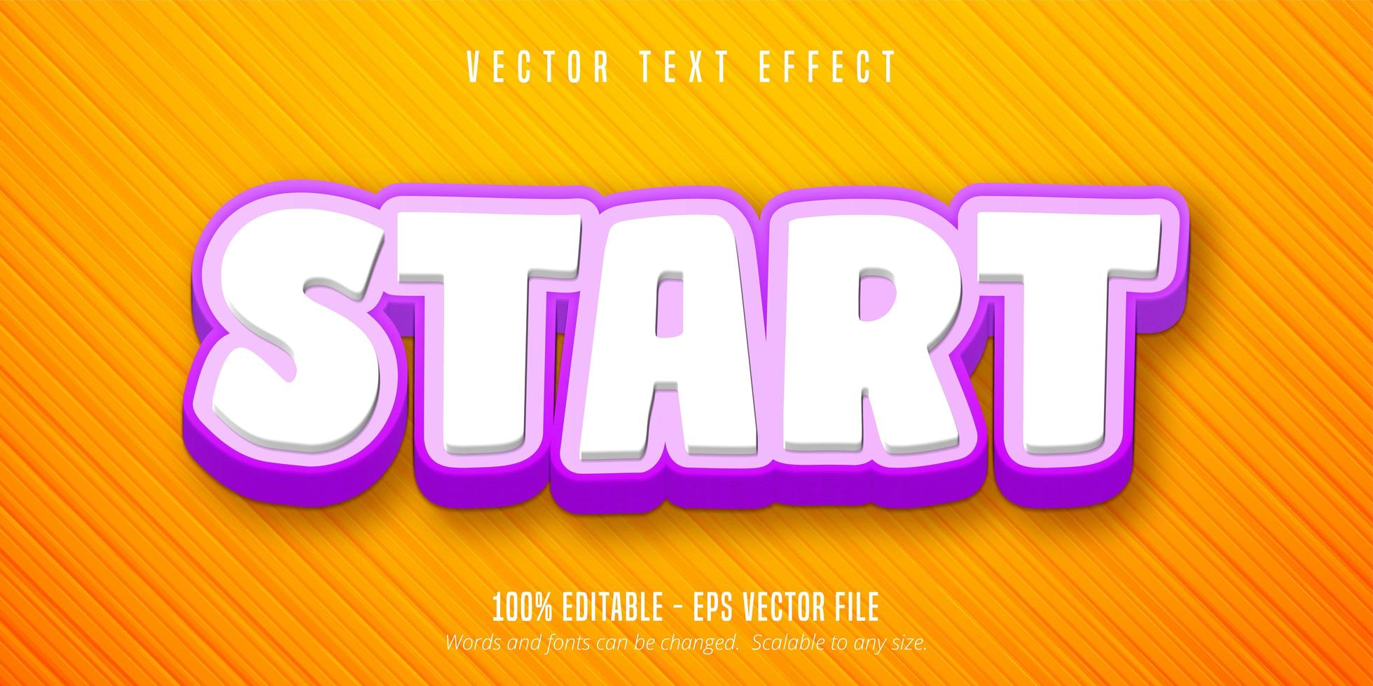Start game style editable text effect vector