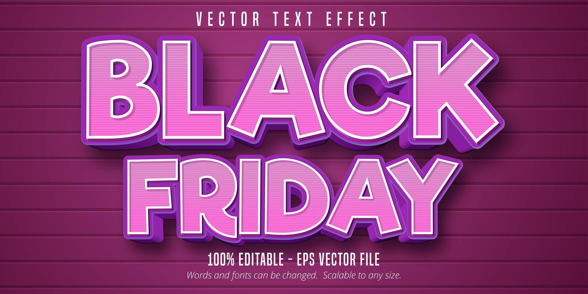 Black Friday cartoon style editable text effect vector