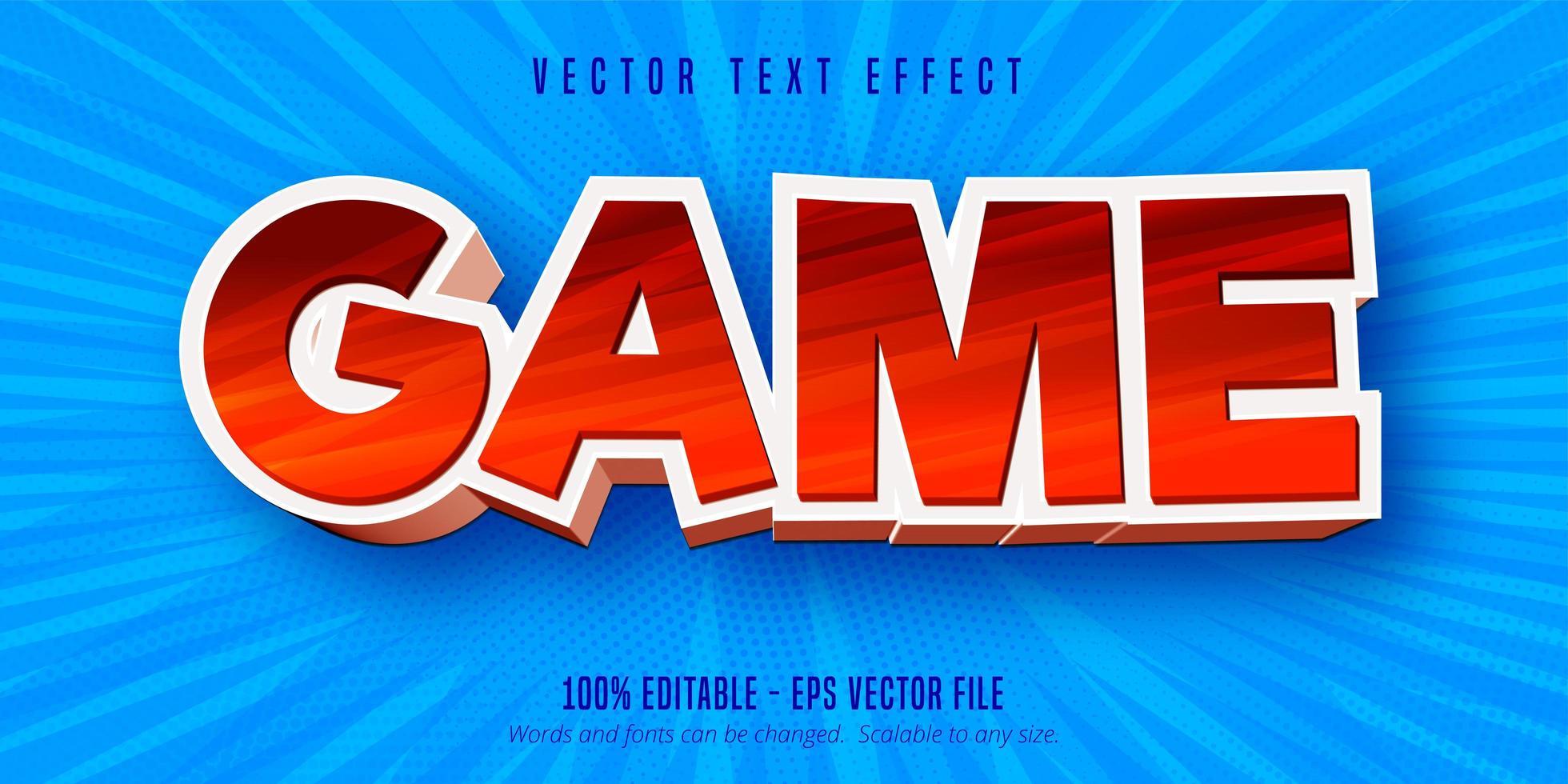 texto del juego, efecto de texto editable estilo dibujos animados vector