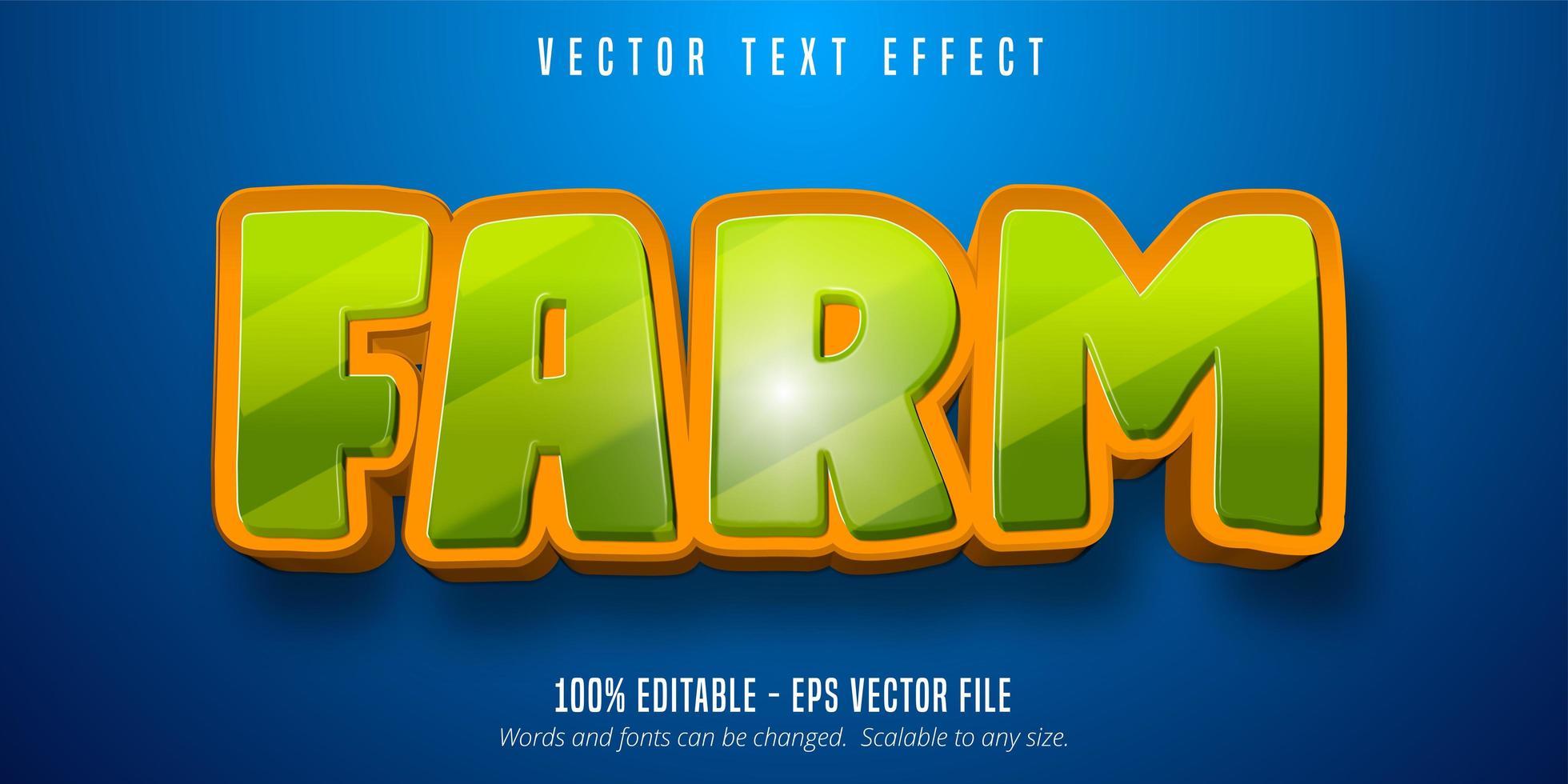 efecto de texto editable de estilo de dibujos animados de granja vector
