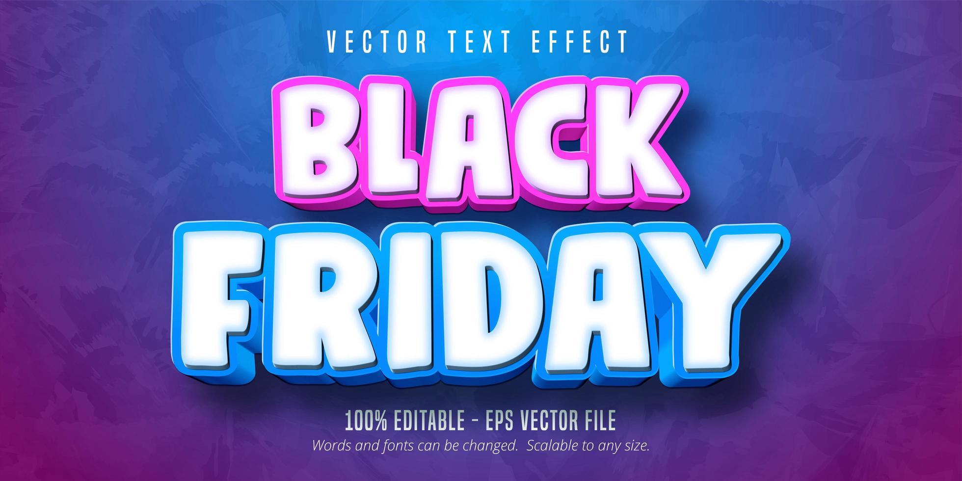 efecto de texto editable de estilo de dibujos animados de viernes negro vector