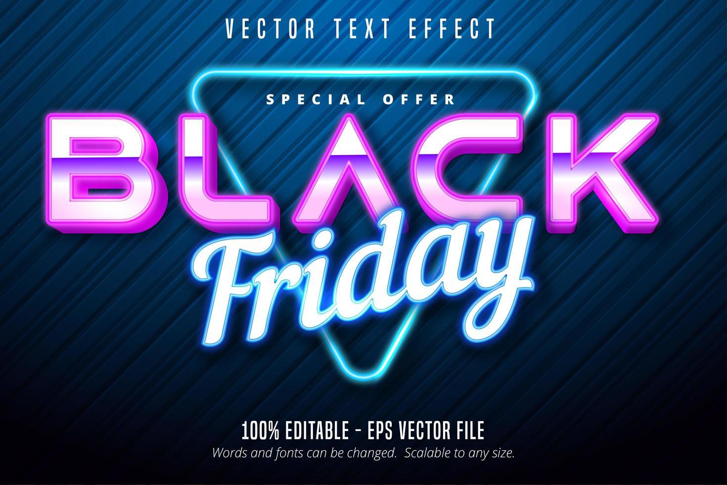efecto de texto editable de luz de neón de viernes negro vector