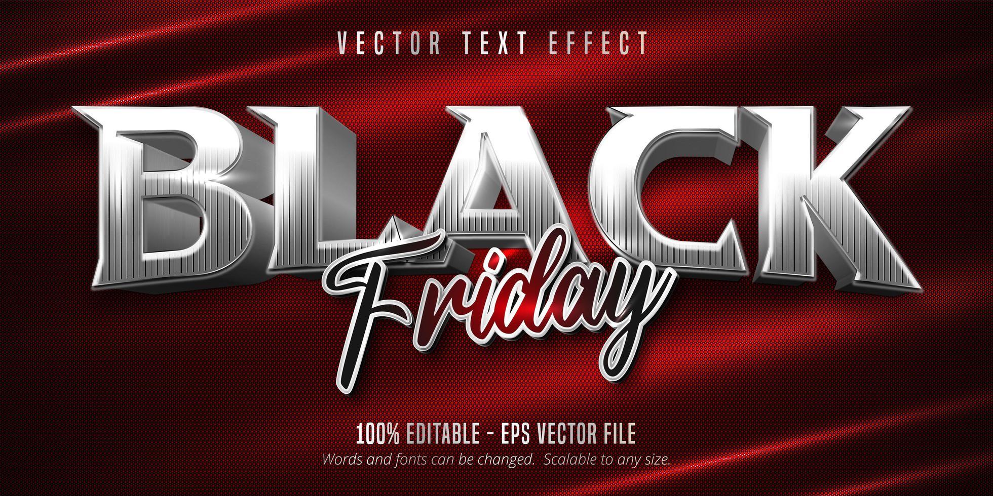 efecto de texto editable de estilo plateado de viernes negro vector