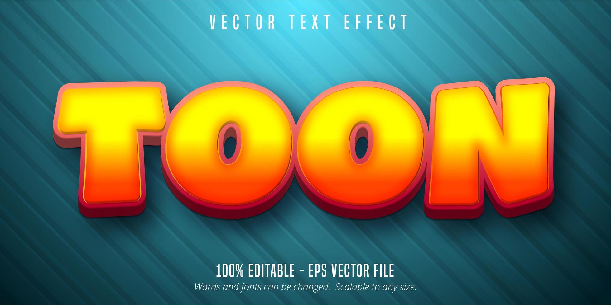Toon text cartoon style editable text effect vector