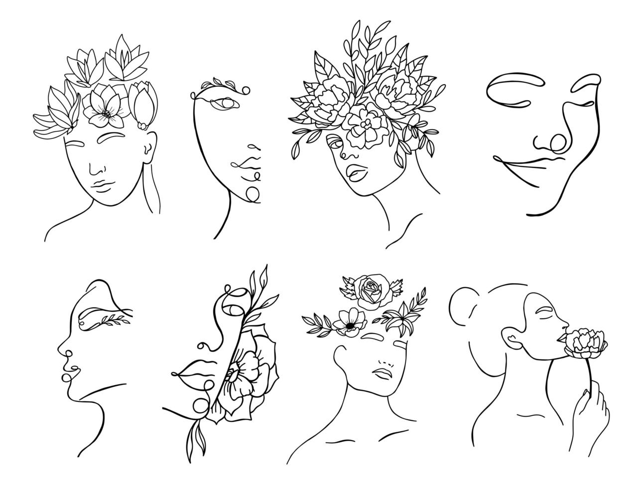 silueta lineal continua de rostros femeninos vector