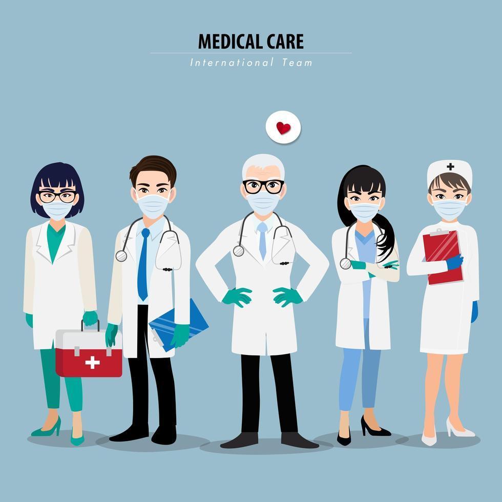 médicos y enfermeras profesionales con máscaras médicas vector