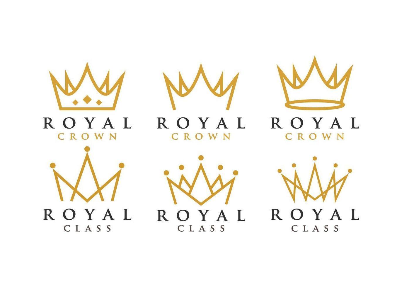 conjunto de logotipo de corona real vector