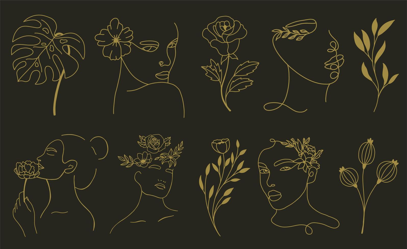 conjunto de elementos abstractos de hojas y flores de cara vector