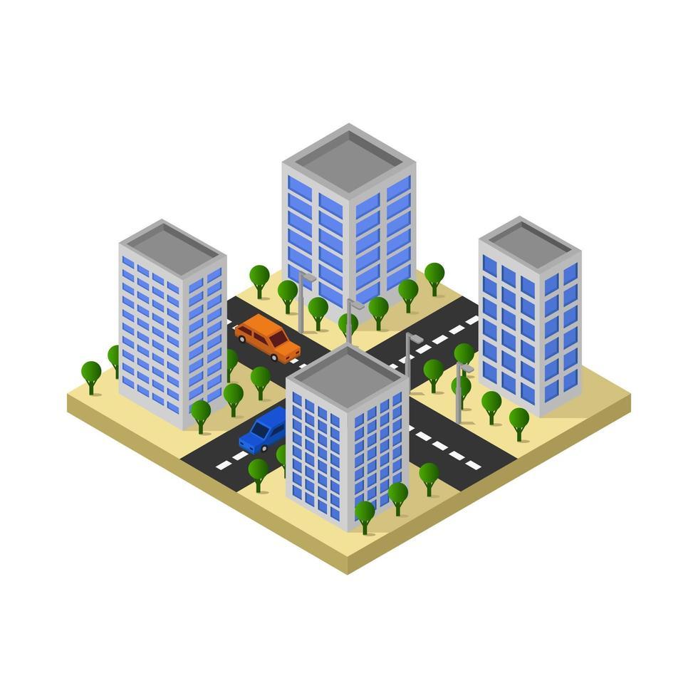 diseño isométrico de cruce de carreteras urbanas vector