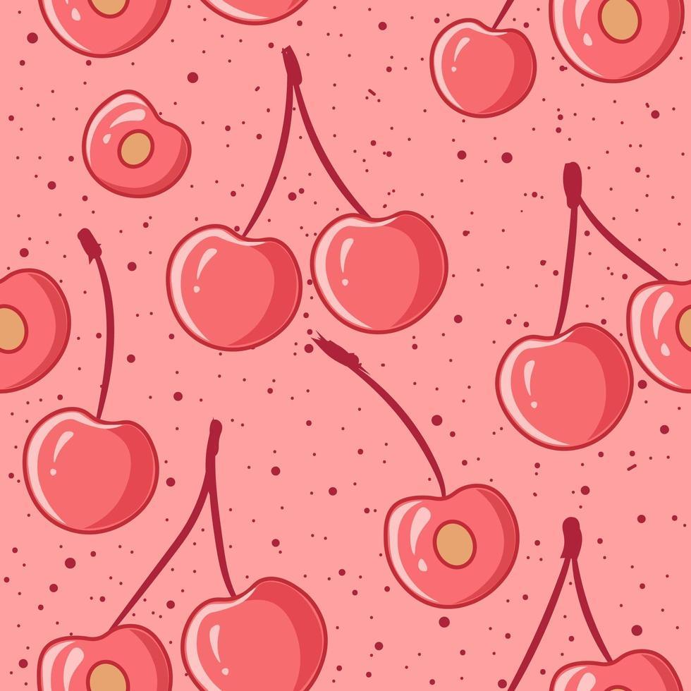 cerezas rosadas de patrones sin fisuras vector