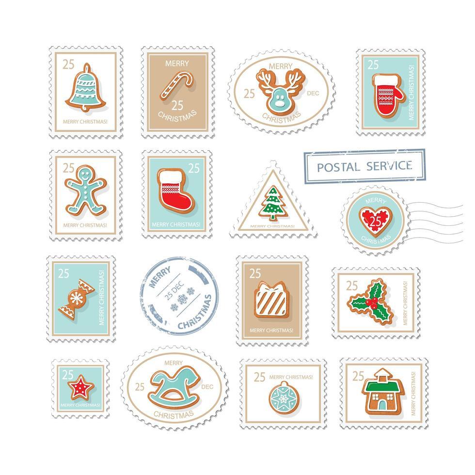 conjunto de sellos postales de navidad vector