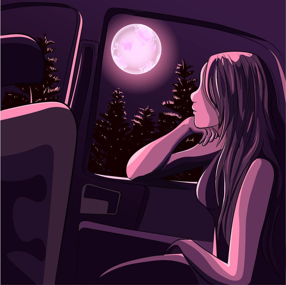 niña meditando bajo la luz de la luna dentro del coche vector