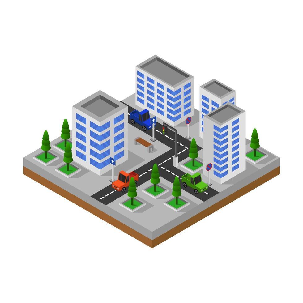 ciudad isométrica en blanco vector