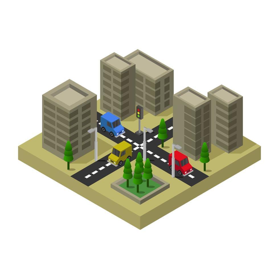 diseño isométrico de ciudad o pueblo vector