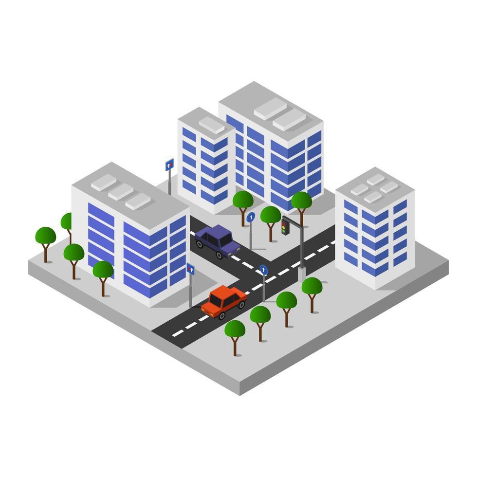 diseño isométrico de la ciudad de los edificios vector