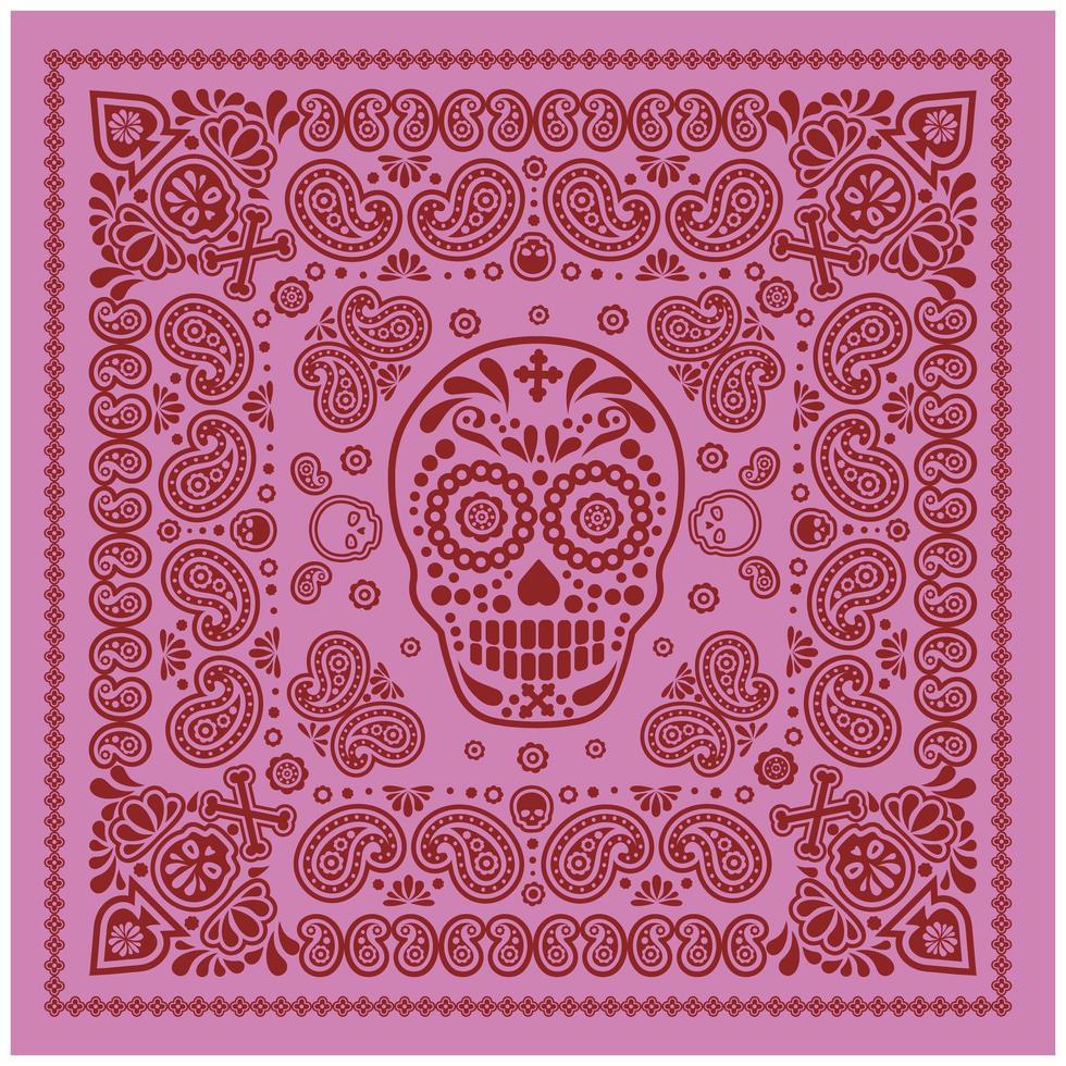 patrón de bandana rosa y rojo con calavera y paisley vector