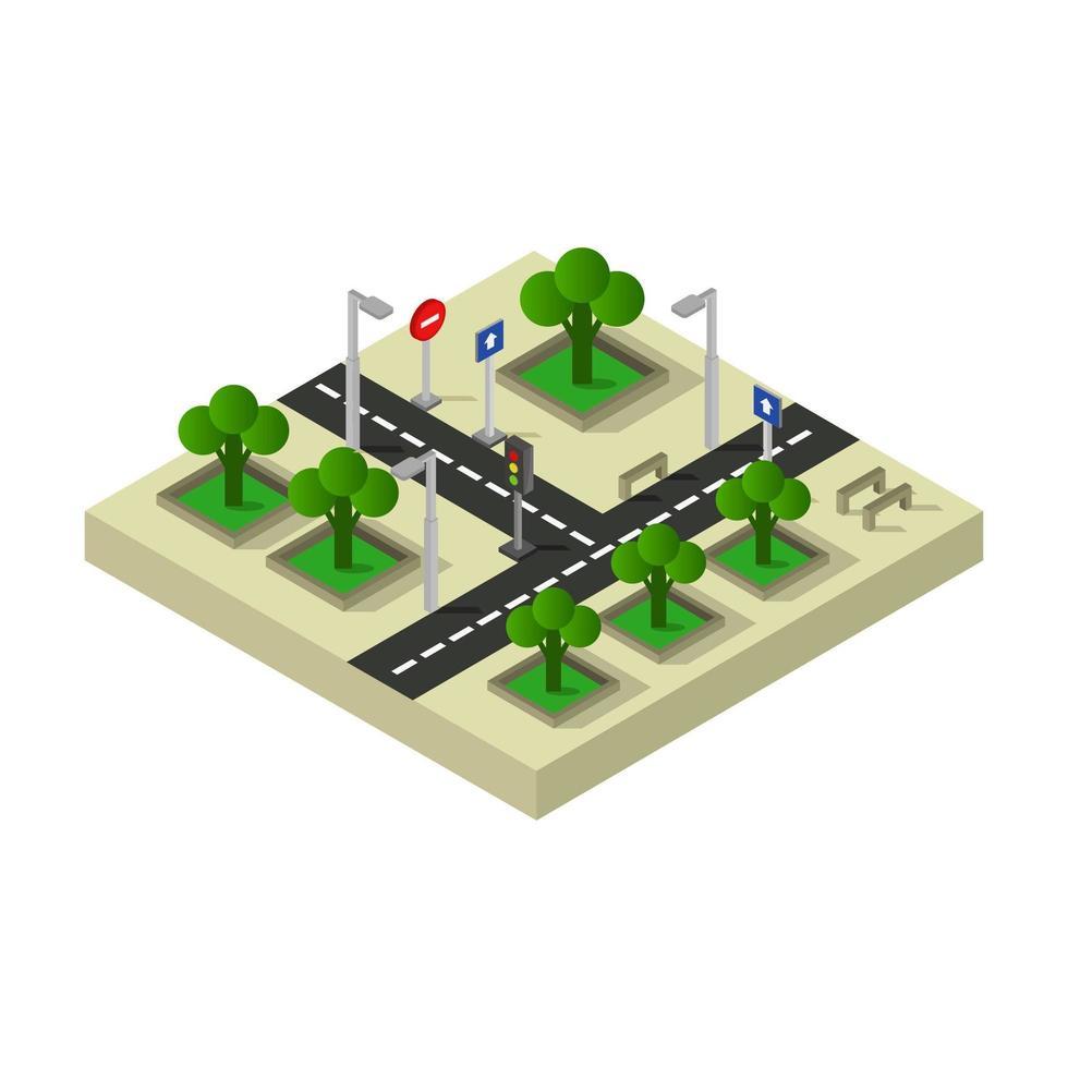 escena de cruce de carretera isométrica vector