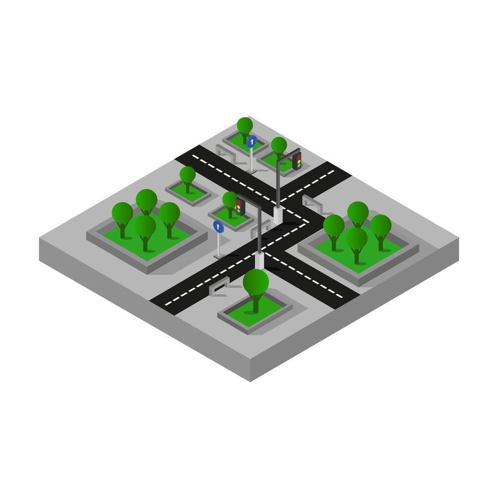 diseño de cruce de carreteras isométrico vector