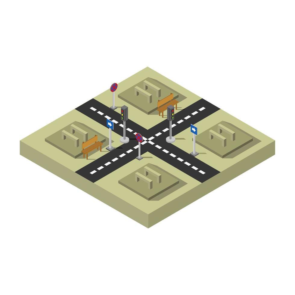 cruce de carreteras isométricas con diseño de parques vector