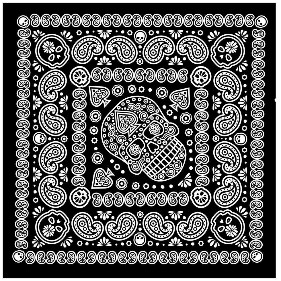 patrón de bandana con calavera y paisley vector