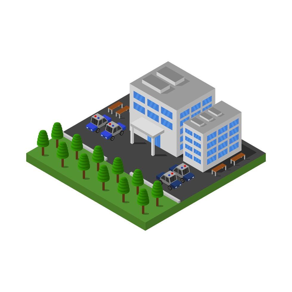 diseño isométrico del edificio de la estación de policía vector