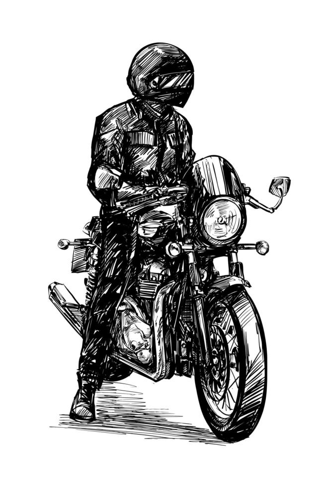 Drawing of the Motorcycle Rider Isolated Hand Drawn vector