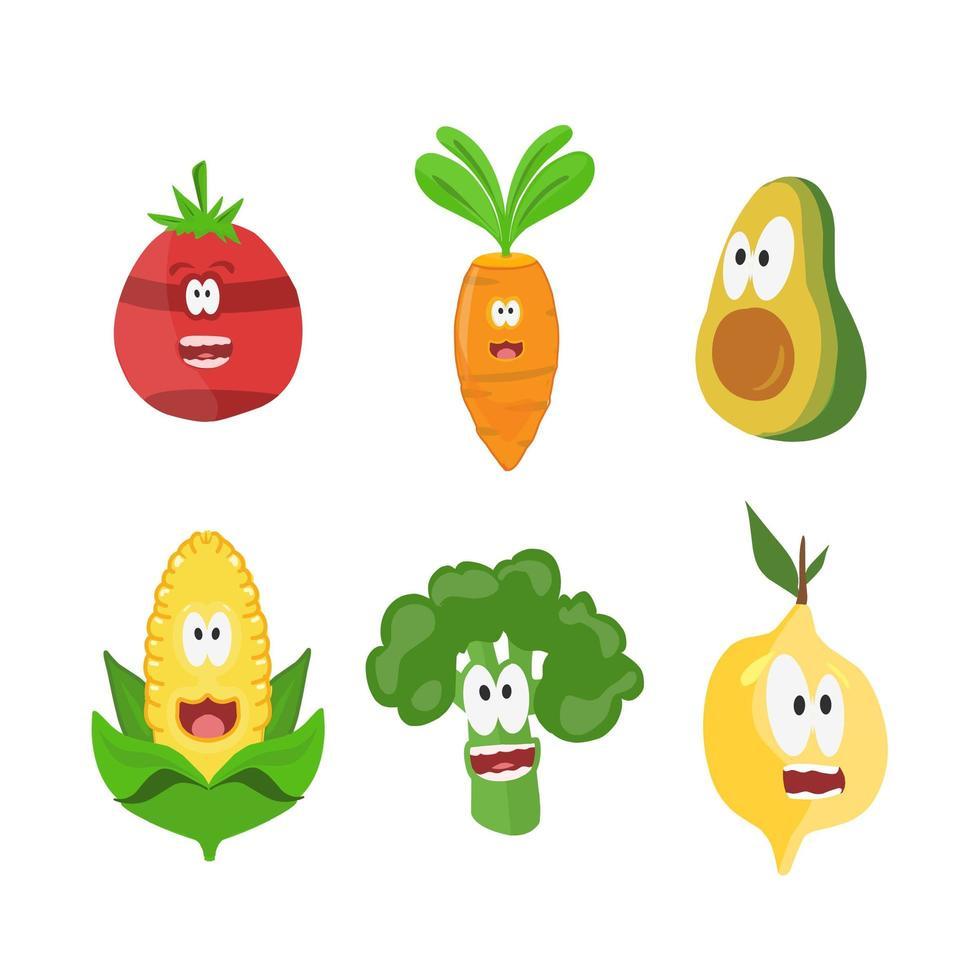 conjunto de caracteres de frutas vector