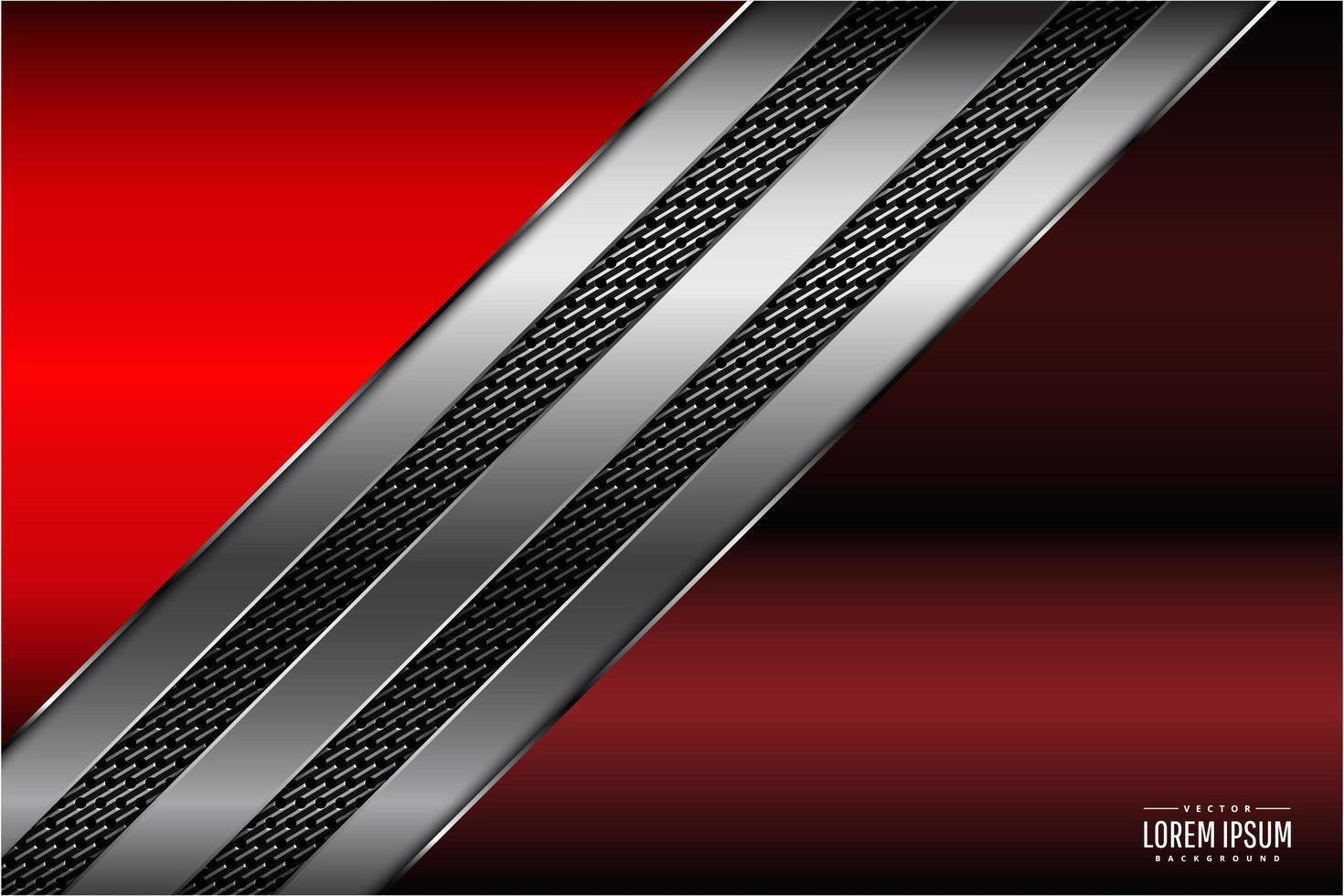 Paneles metálicos rojos y plateados con rayas de fibra de carbono vector